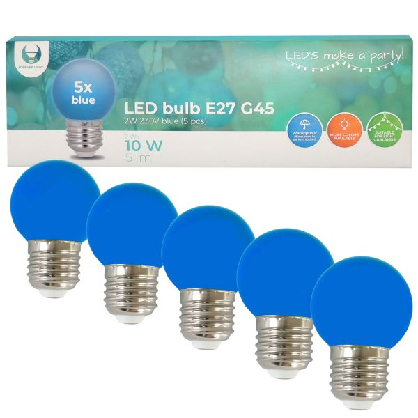 LED Birne für Lichterkette E27, 5er Set Licht blau