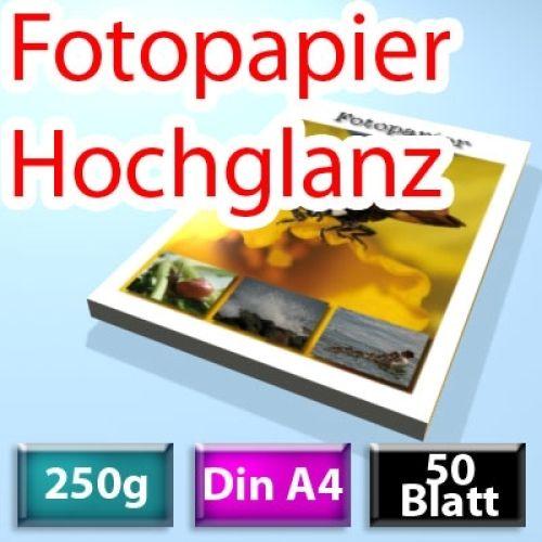 250g High-Glossy Foto-Papier Din A4, 50 Blatt