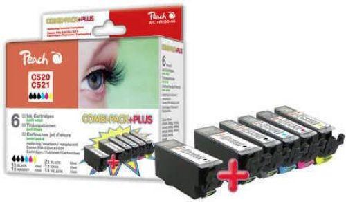 Peach Combi Pack Plus mit Chip, kompatibel zu CLI-521, 2xPGI-520