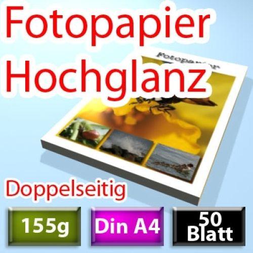 155g High-Glossy Foto-Papier Din A4, doppelseitig 50 Blatt