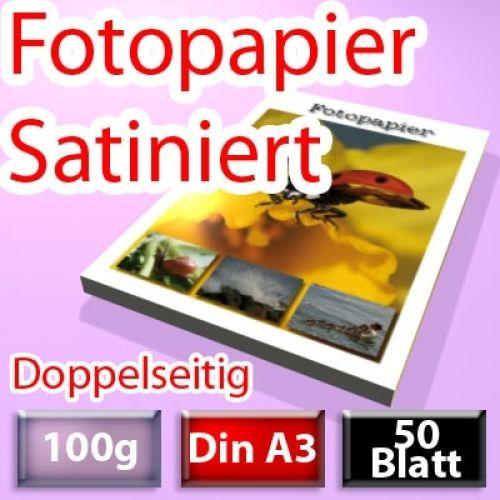 100g Satiniertes Foto-Papier Din A3, doppelseitig 50 Blatt