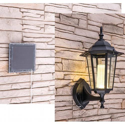 * Solar LED Wandleuchte 0,5 W / 2900 K, warmweiß, Aluminium