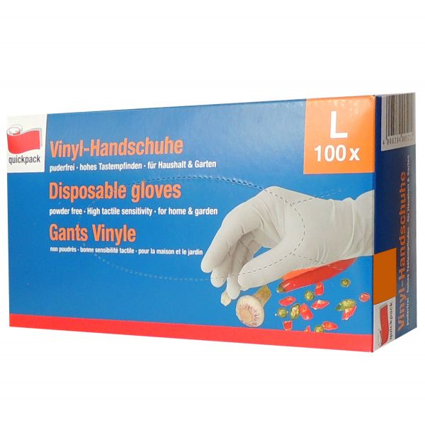 100 St. Vinyl-Handschuhe Einmalhandschuhe Größe L