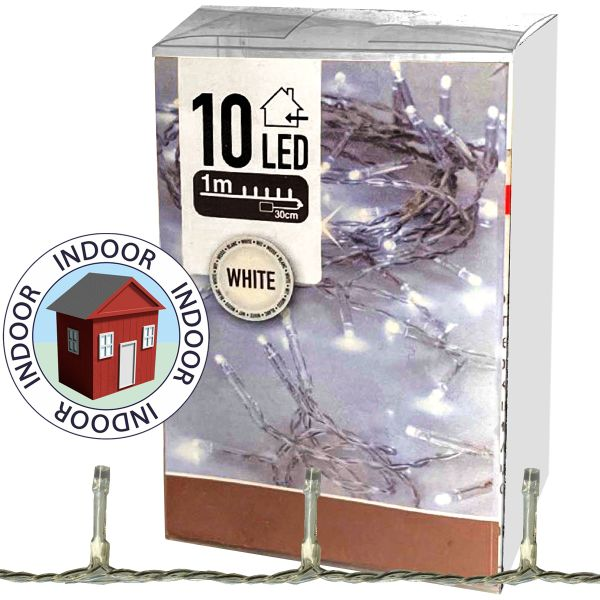 Lichterkette 10 LED 1m kaltweiß