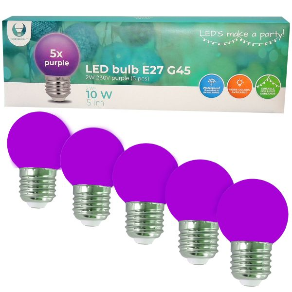LED Birne für Lichterkette E27, 5er Set Licht lila