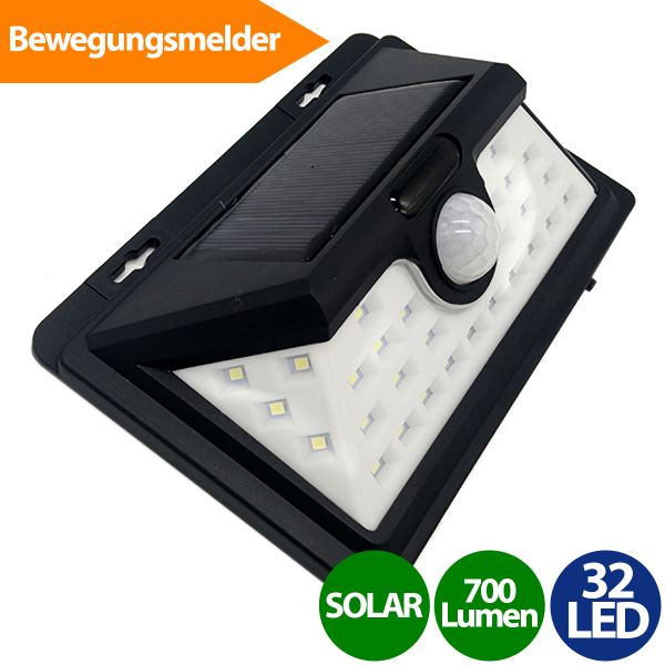 Solar Wandleuchte mit Bewegungsmelder, 32 LED, Akku