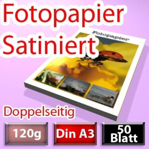 120g Satiniertes Foto-Papier Din A3, doppelseitig 50 Blatt