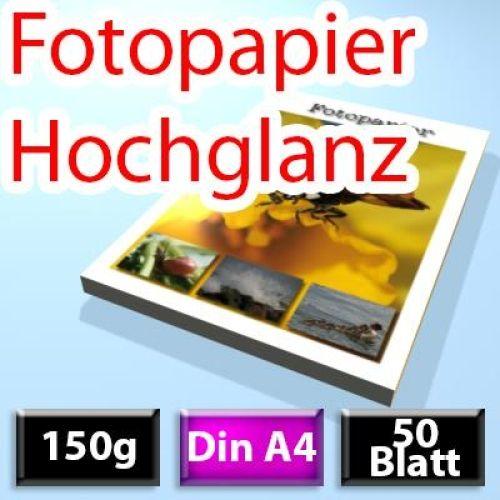 150g High-Glossy Foto-Papier Din A4, 50 Blatt