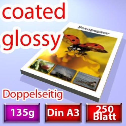 135g coated glossy Papier Din A3, 250 Blatt