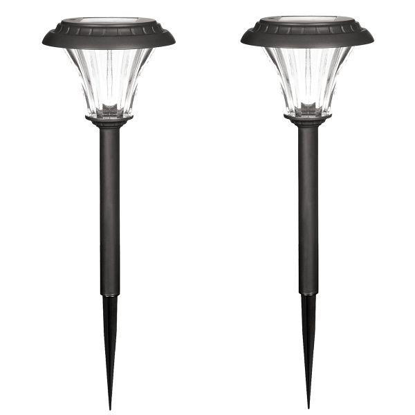 2er SET XL Solar-Gartenleuchten, Metall/schwarz, mit Erdspieß