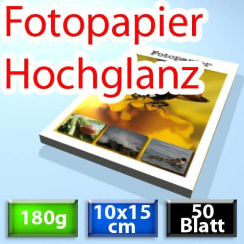 180g Foto-Karten 10*15cm, Glossy, 50 Blatt