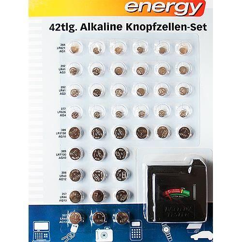 42 Knopfzellen-Set Alkali mit Batterie-Tester