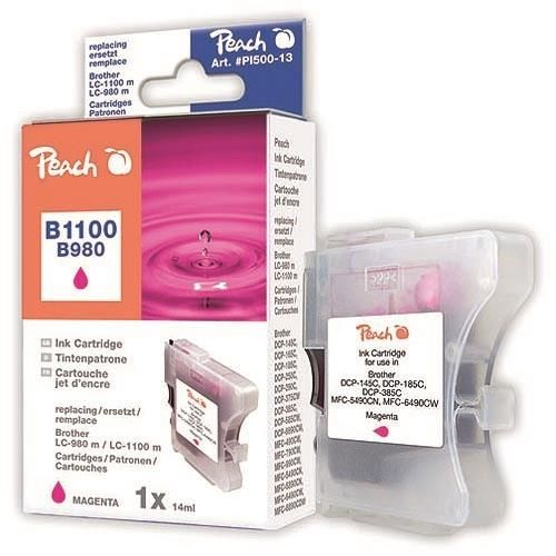 Peach XL-Tintenpatrone für Brother, Typ BK980/1100M, magenta