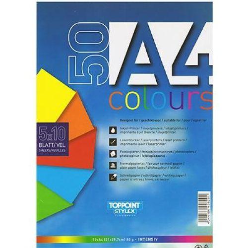 Multifunktionspapier 5 verschiedene Farben, A4 80g 50 Blatt