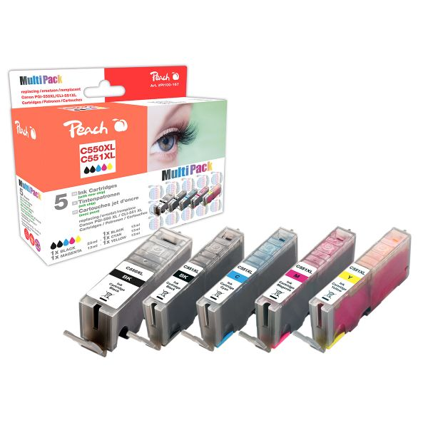 Peach Spar Pack mit Chip, kompatibel zu PGI-550, CLI-551