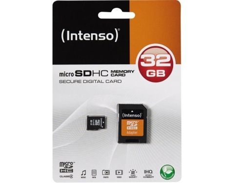 Micro SDHC Card, 32GB, CL4, + Adapter, Intenso