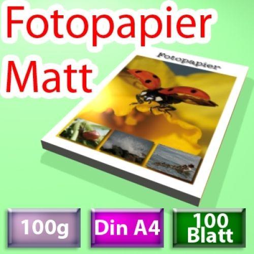100g Mattes Foto-Papier, Inkjet Din A4, 100 Blatt