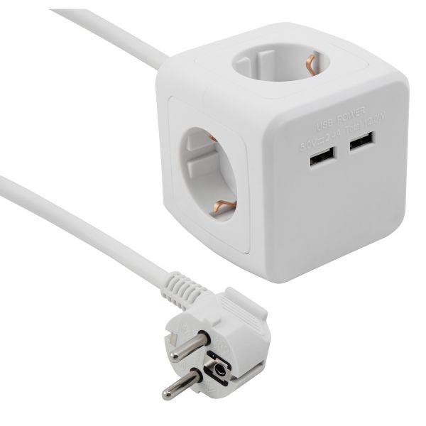 4-fach Steckdosenwürfel 2x USB, weiß