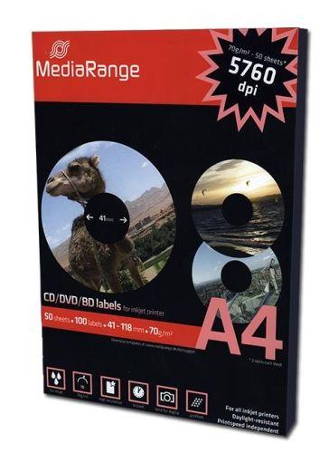 CD-Labels, matt, 100 Stück-Packung, 41mm Innendurchmesser, Media