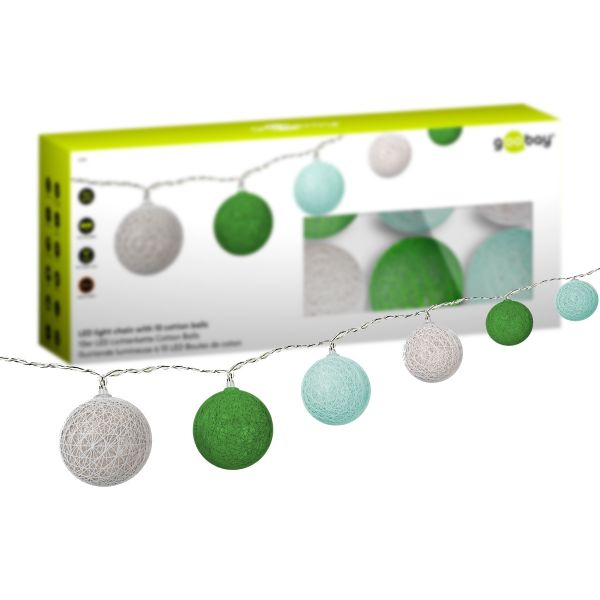 10er LED Lichterkette Cotton Balls, Grün, Mint, Weiß - Batteriebetrieb