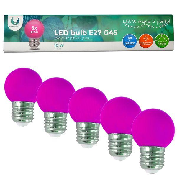 LED Birne für Lichterkette E27, 5er Set Licht pink