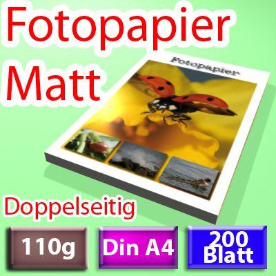 110g 2-seitig Foto-Papier, Inkjet Din A4, 200 Blatt